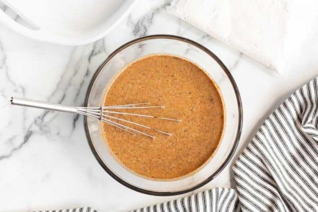 pumpkin mixture in mixing bowl
