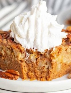 closeup of pumpkin dump cake