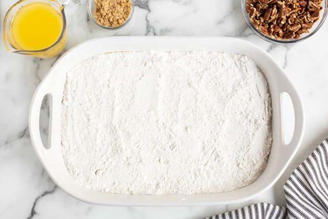 cake mix in a baking pan