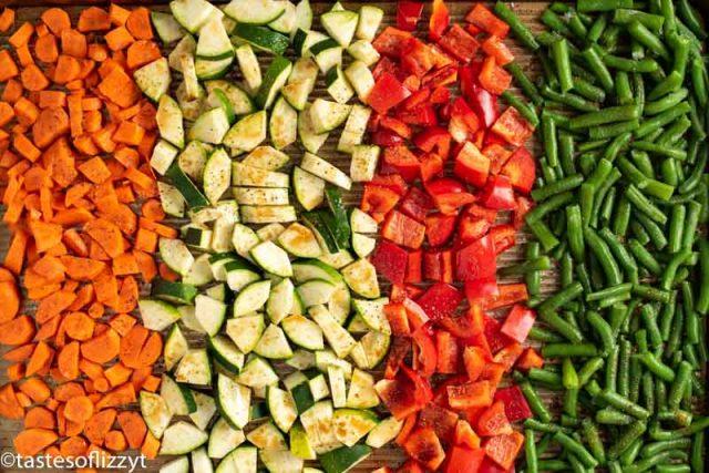 veggies on a roasting pan