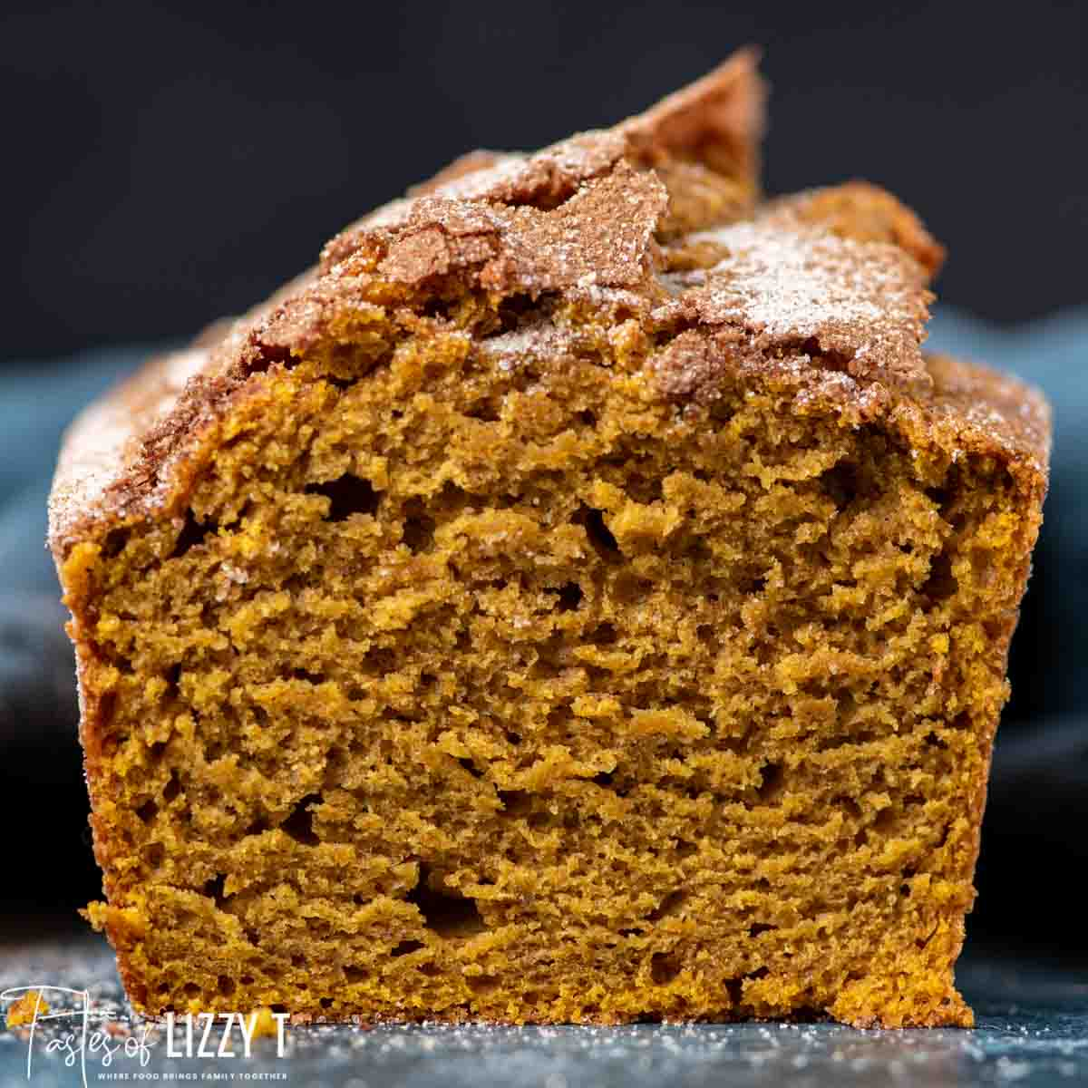 cut loaf of pumpkin bread