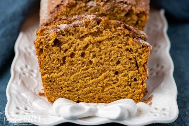 slice of pumpkin bread on a plate