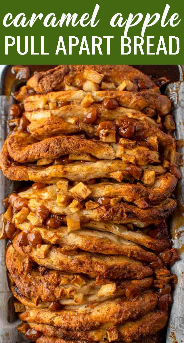 Gooey apples, cinnamon and caramel in every bite! This easy Caramel Apple Pull Apart Bread uses a quick biscuit dough for a tender flaky loaf. via @tastesoflizzyt