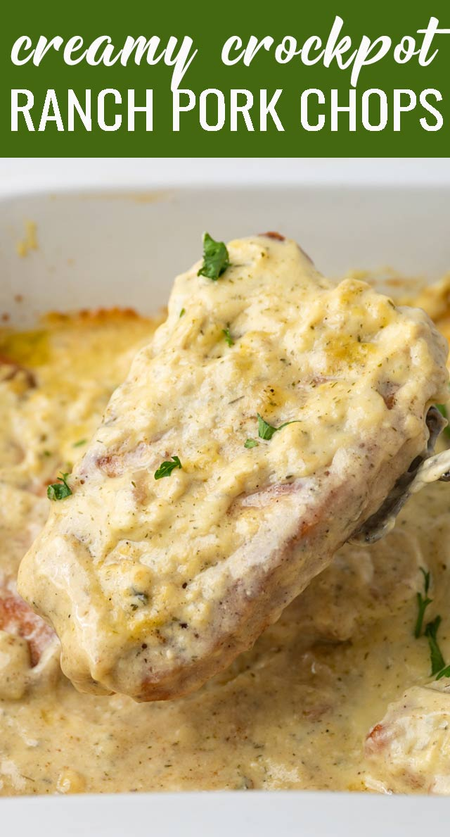 Only 6 ingredients, this easy slow cooker ranch pork chops recipe is a family favorite. Creamy sour cream ranch gravy is delicious over potatoes. via @tastesoflizzyt