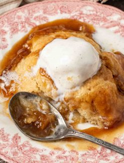 apple dumpling and ice cream on a plate
