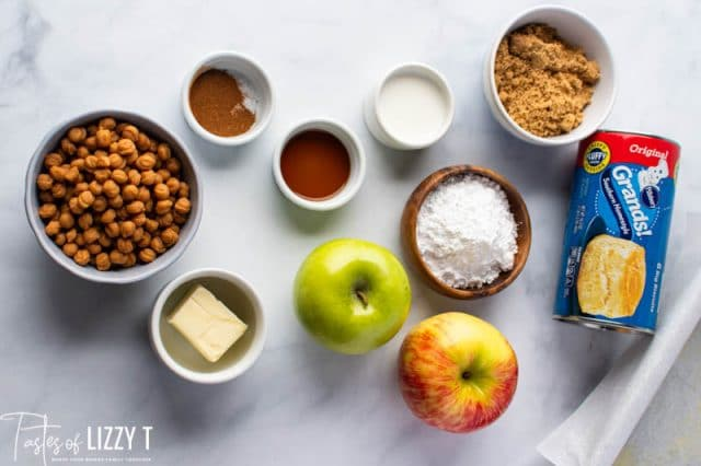 ingredients for caramel apple pull apart bread