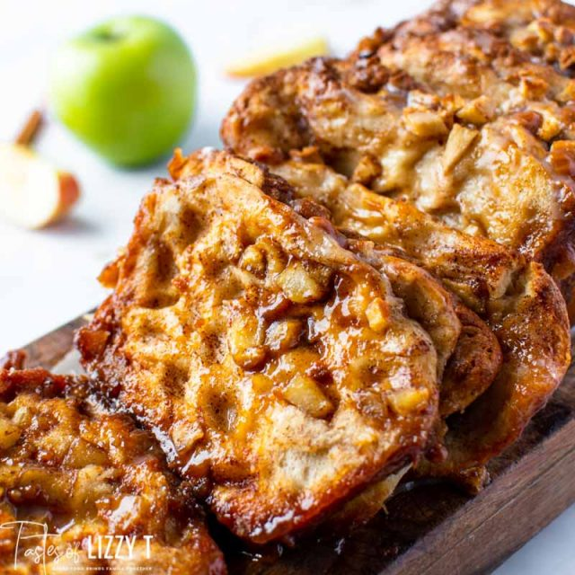 slices of caramel apple pull apart bread on a cutting board