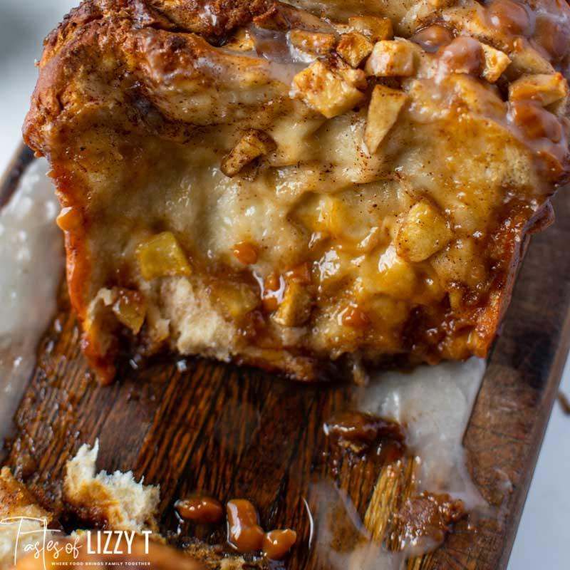 sliced open caramel apple pull apart bread