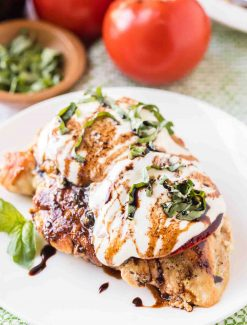 caprese chicken on a plate