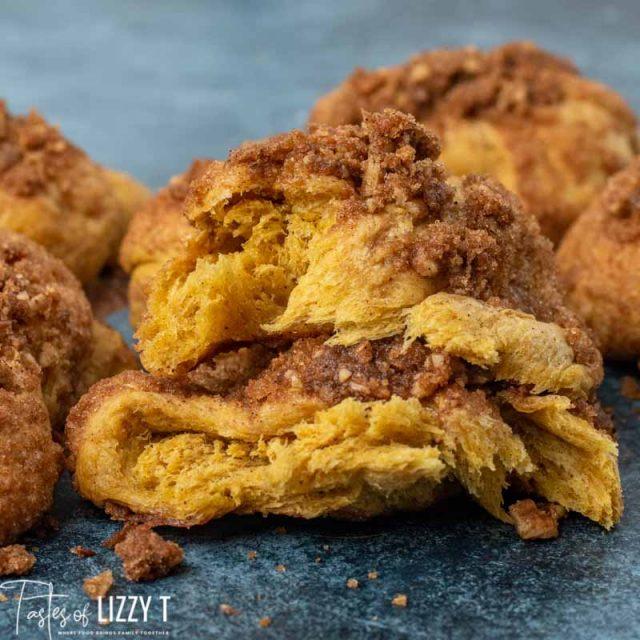 cinnamon crunch pumpkin roll broken in half
