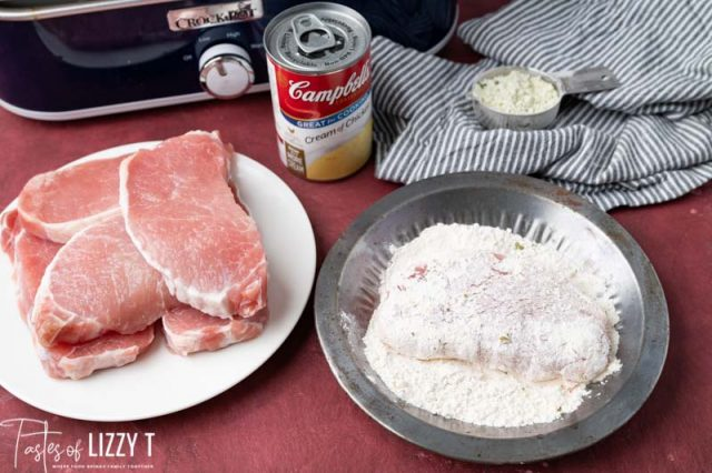 raw pork chop covered in flour