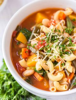 bowl of minestrone soup with parmesan