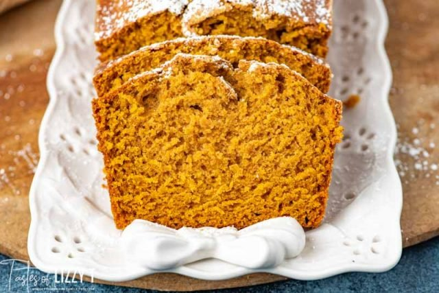 slices of pumpkin bread on a plate