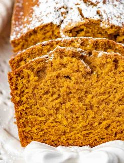 closeup sliced loaf of pumpkin bread