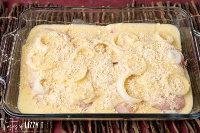 chicken, onion, cheese and gravy in a casserole