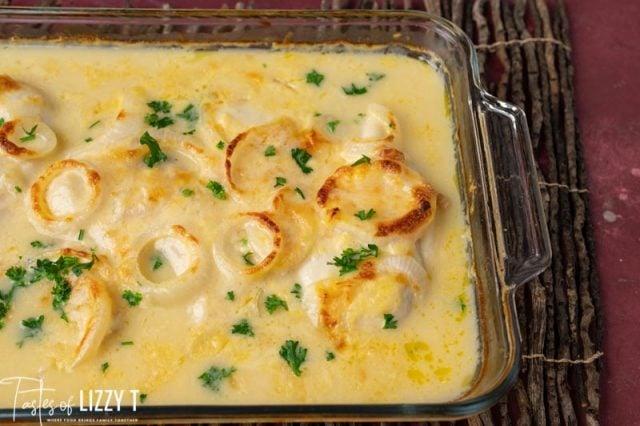 chicken and gravy in a casserole