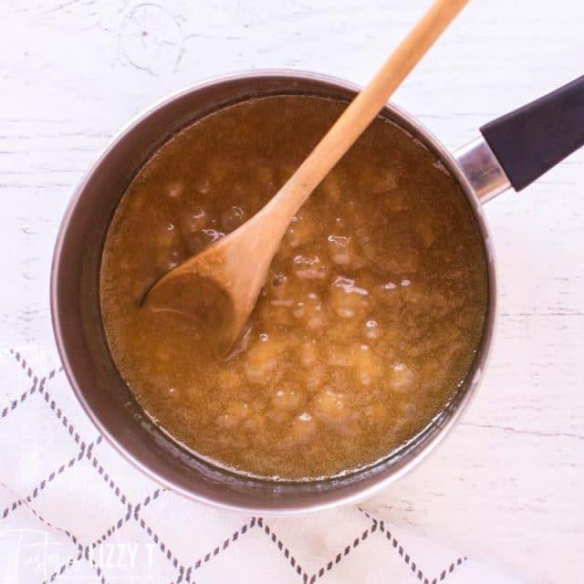 caramel in saucepan