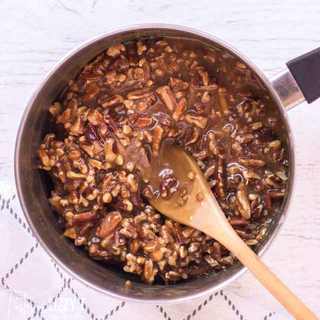 caramel and pecans in saucepan