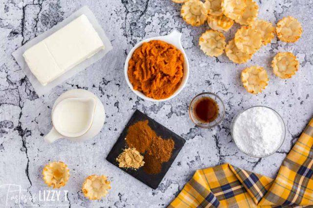 ingredients for pumpkin cheesecake mini pies
