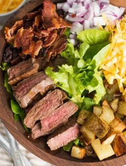 big bowl of steak salad