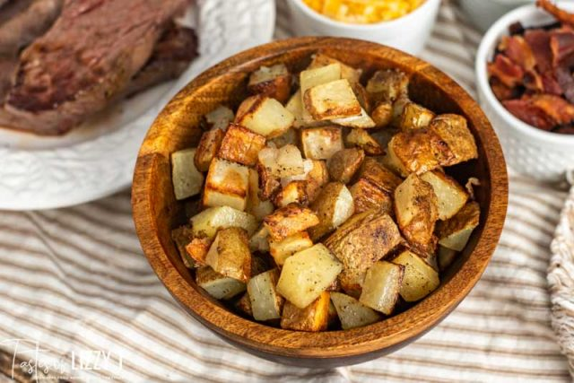wooden bowl of roasted potatoes