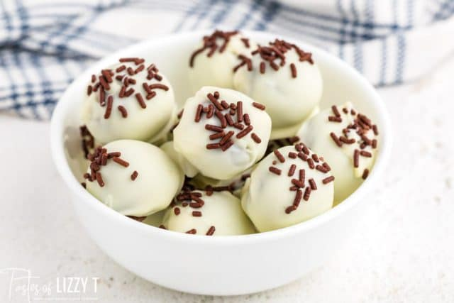 bowl of white chocolate covered truffles