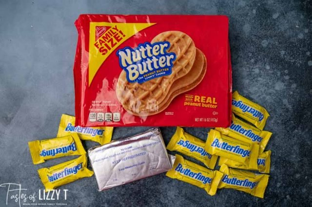 ingredients for butterfinger truffles on a table