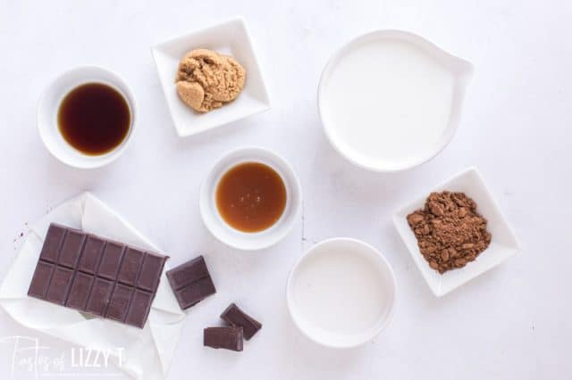 ingredients for caramel hot chocolate