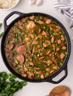 overhead view of a pot of chicken sausage gumbo