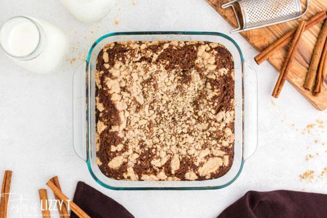 glorified gingerbread cake in a baking pan