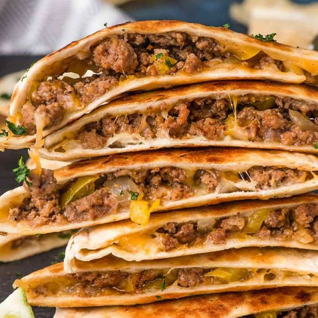 stack of ground beef quesadillas
