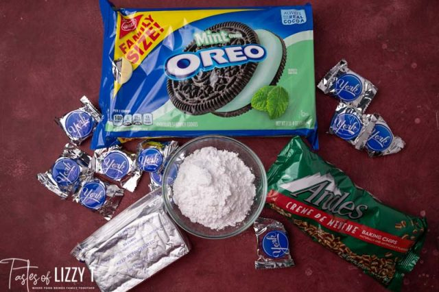 ingredients for peppermint patty truffles