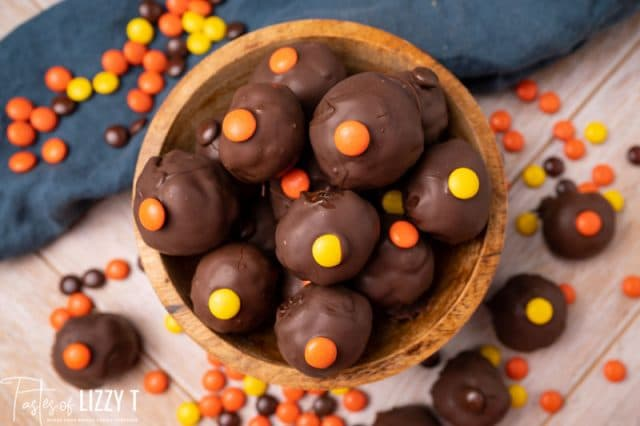 wooden bowl full of reese's chocolate truffles