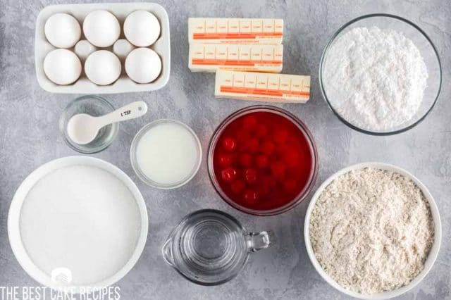 ingredients for shirley temple cake on a table