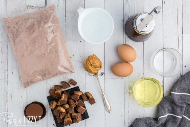 ingredients for slow cooker peanut butter brownies