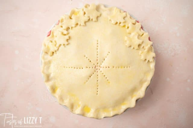 unbaked pie with decorations in the crust