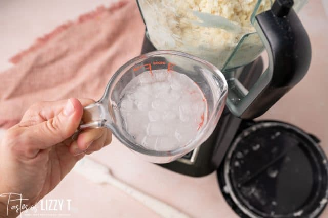 ice water in a measuring cup