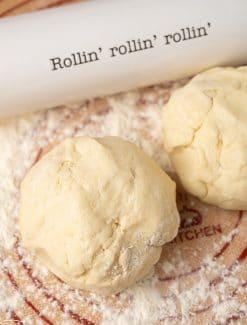 two balls of sourdough pie dough