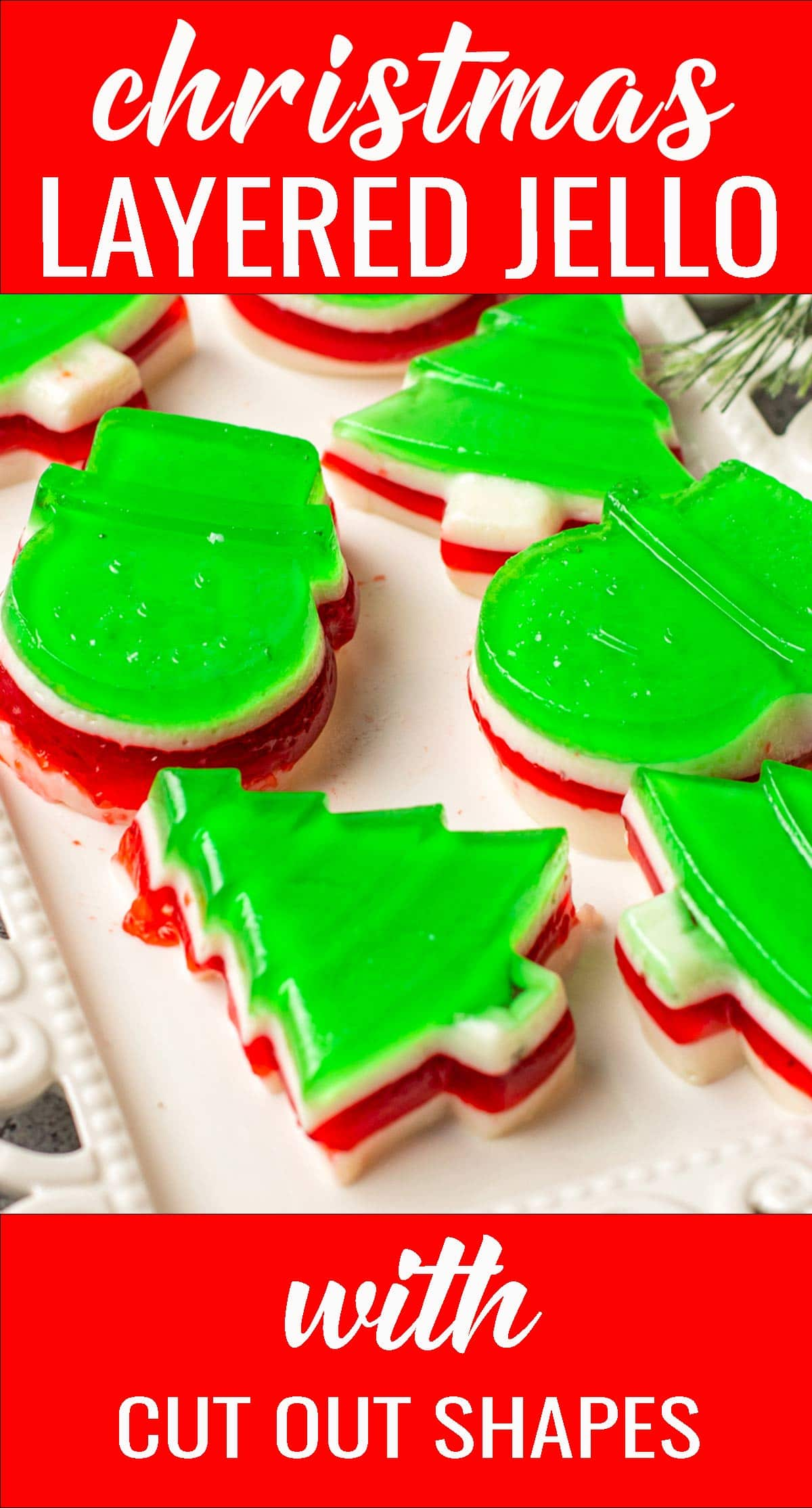 Make this fun dessert for your next holiday party. Flavored red and green jello sandwiched with a creamy layer to make this easy Christmas layered jello. via @tastesoflizzyt