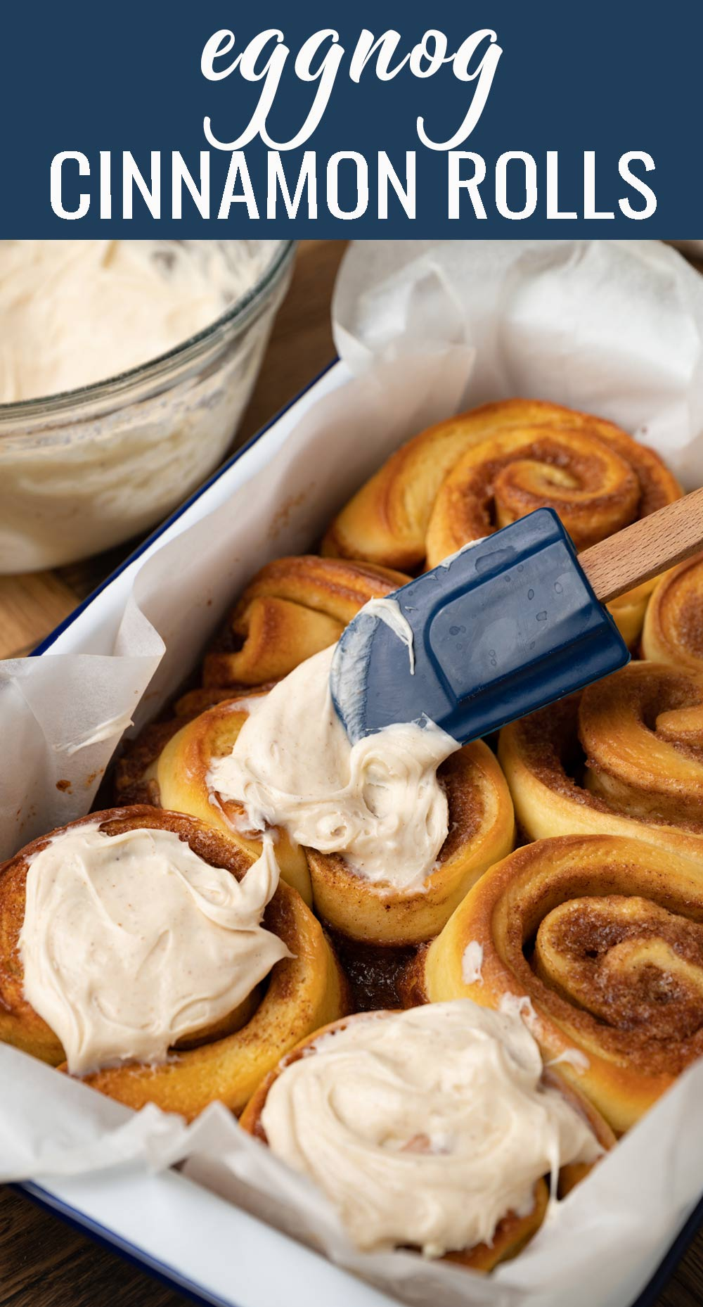 Nothing signals the holidays like eggnog. These Eggnog Cinnamon Rolls use the popular spiced drink in the dough, the cream bath and the creamy frosting. via @tastesoflizzyt