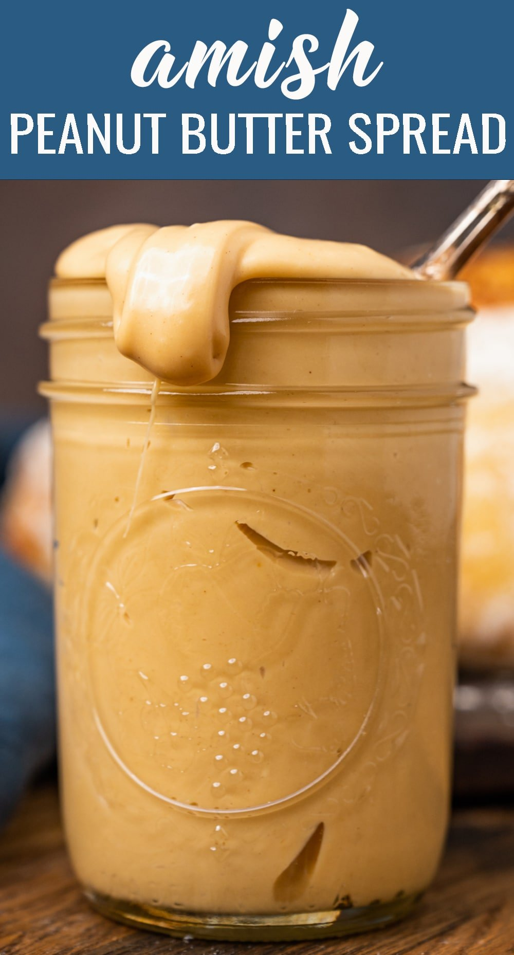 The most delicious thing next to sliced bread...for sliced bread! This Amish Peanut Butter Spread takes just 5 minutes to mix up and your family will LOVE it. via @tastesoflizzyt