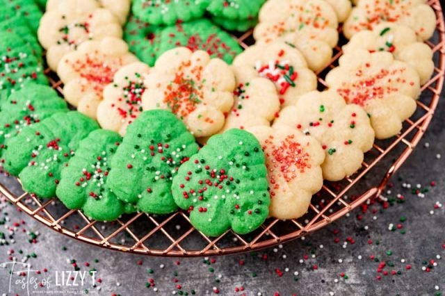 christmas cookies on a wire rack