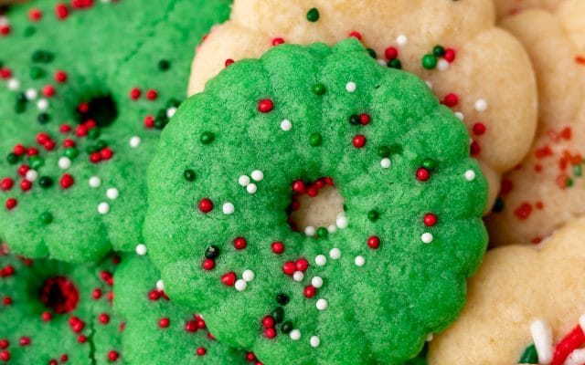 closeup of a plate of christmas cookies