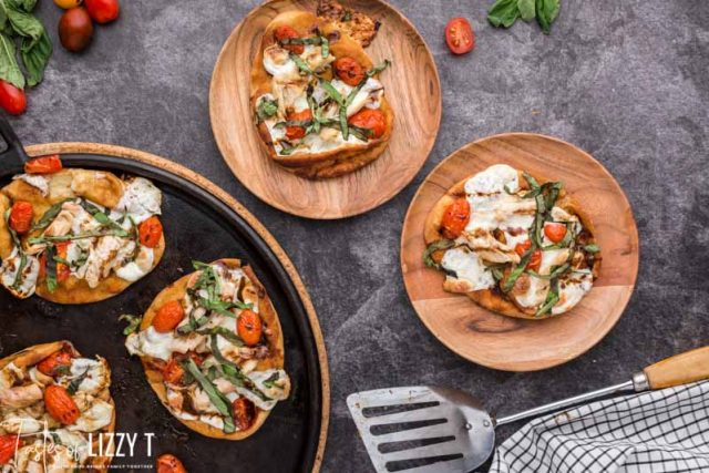 overhead view of plated caprese chicken pizza