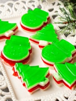 christmas jello shapes on a plate