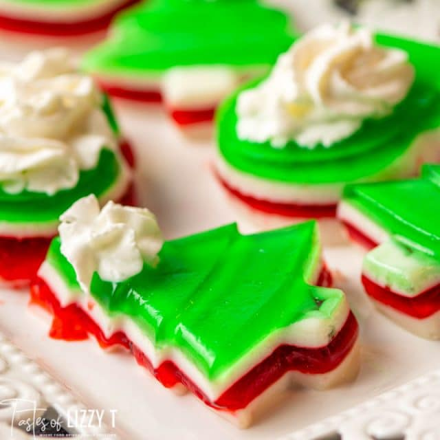 plate of christmas shaped jello on a plate