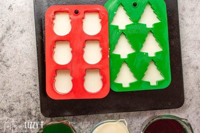 white jello in silicone molds