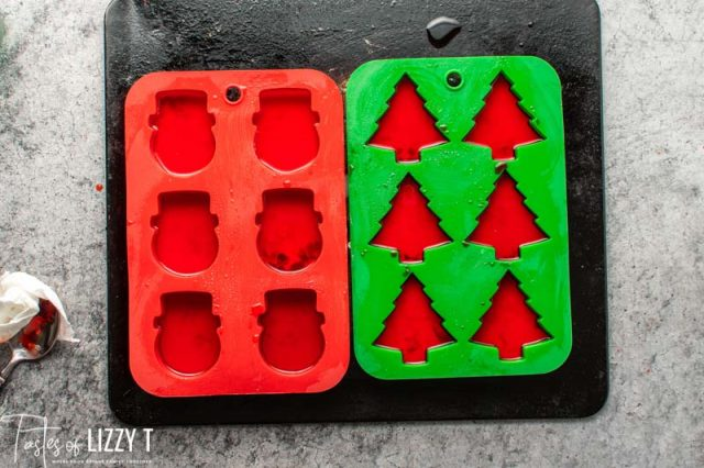 red jello in silicone molds