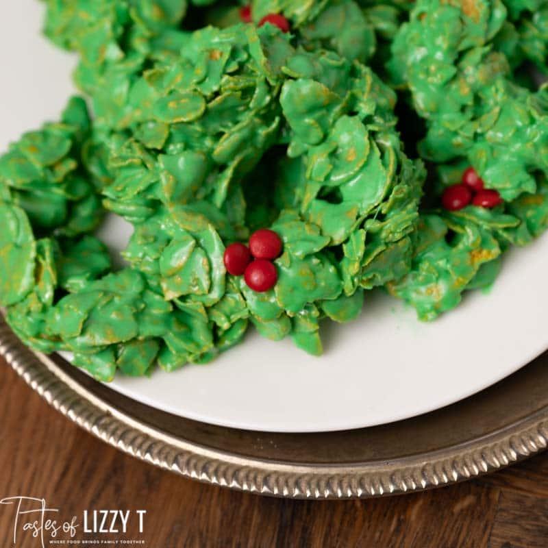 plate of wreath cornflake cookies