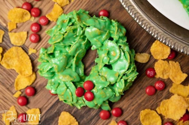 wreath cookie on a table